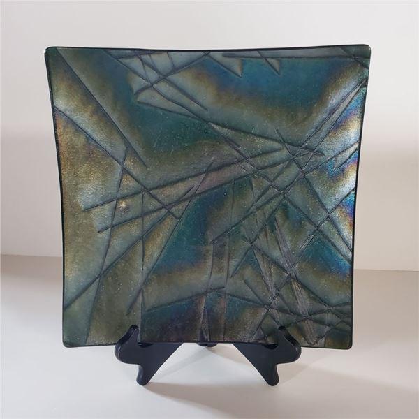 """Square Black Opalescent Decorative Plate 12 x 12 """""""