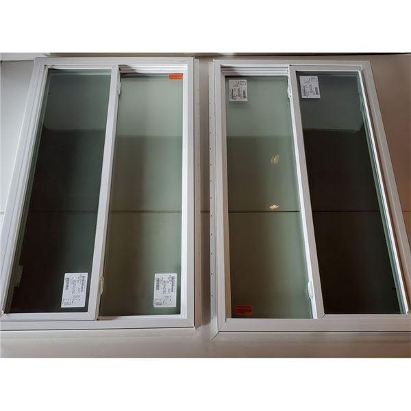 (4) White Framed Side Sliding Glass Windows Various Sizes