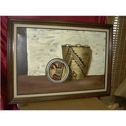 Framed Original Indian Basket Oil Painting By #1762541