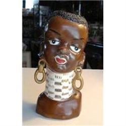 RARE ANTIQUE HEAD VASE - BLACK GIRL #1762558