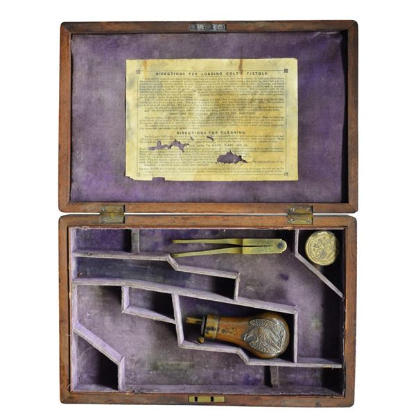 RARE COLT MODEL 1849 MAHOGANY DOUBLE PISTOL CASE.