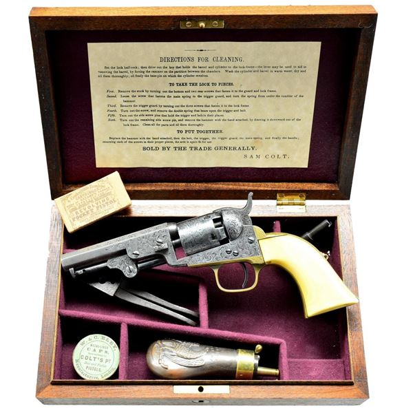 COLT ENGRAVED 1849 POCKET MODEL REVOLVER.