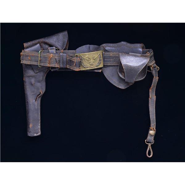 CIVIL WAR OFFICER'S SWORD BELT, NAVY HOLSTER, CAP