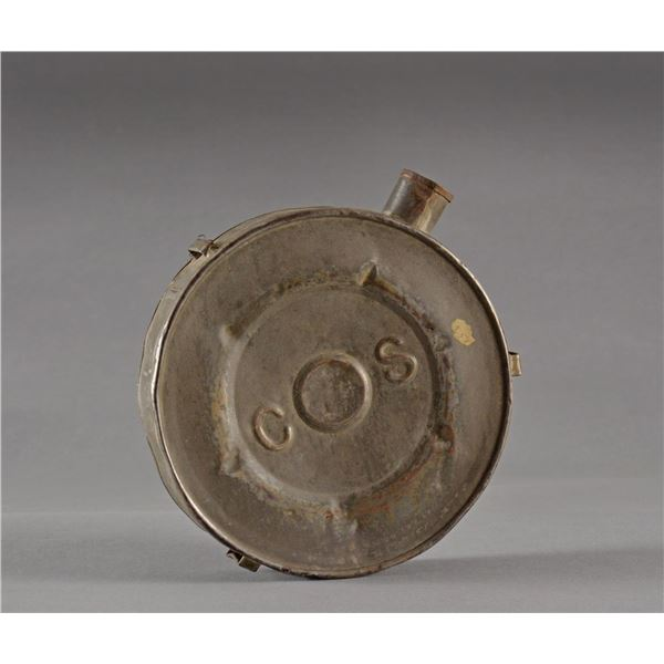 """EXTREMELY RARE EMBOSSED """"CS"""" TIN CANTEEN."""