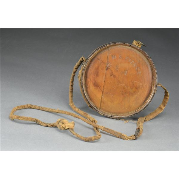 """CONFEDERATE WOOD CANTEEN CARVED """"W. S. PIERCE"""" &"""