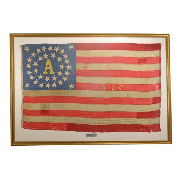 "CIVIL WAR ""ALBANY ZOUAVE CADETS"" BATTLE FLAG."