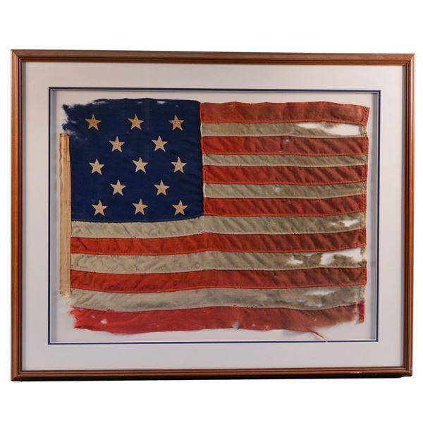 FINE FRAMED 13-STAR AMERICAN FLAG.