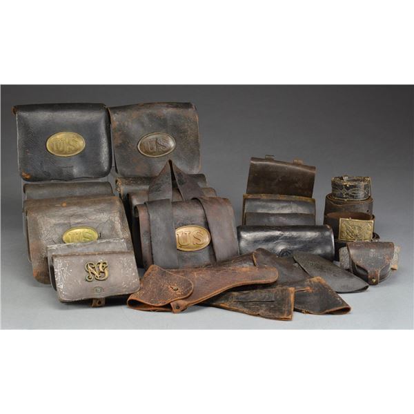 LARGE GROUP OF CIVIL WAR LEATHER ACCOUTREMENTS.