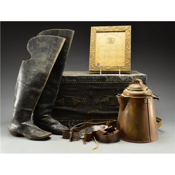 CIVIL WAR & LATER BOOTS, COFFEE POT, BELTS, TRUNK
