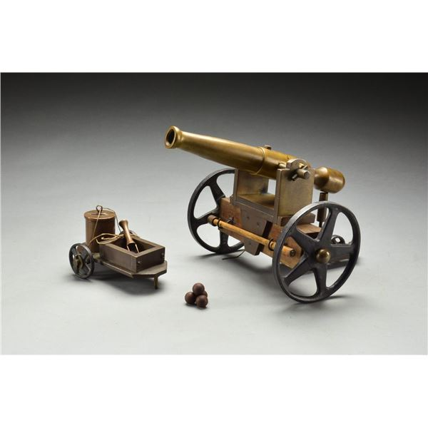 BRASS MUZZLELOADING CANNON WITH CARRIAGE & LIMBER.