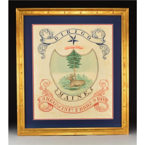 RARE 1822 MAINE MILITIA FLAG.