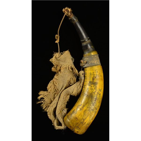 """12"""" CARVED HORN """"ISRAEL HUTCHINSON 1776""""."""