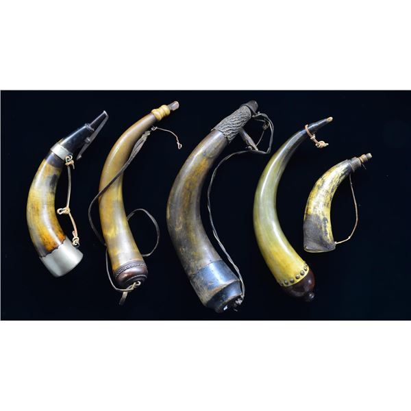 GROUP OF FIVE 18th-19th CENTURY POWDER HORNS.