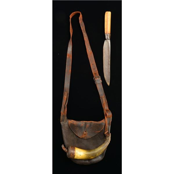 19TH CENTURY FRONTIER STYLE POSSIBLES BAG, POWDER