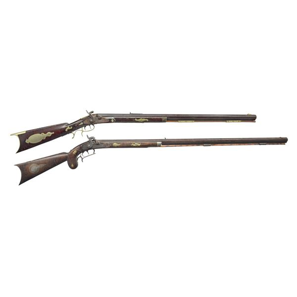 2 FANCY INLAID PERCUSSION HALFSTOCK RIFLES WITH