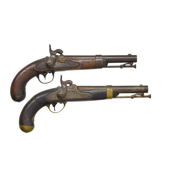 2 US PERCUSSION SINGLE SHOT PISTOLS.