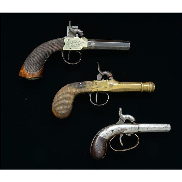 3 UNMARKED SINGLE SHOT PERCUSSION PISTOLS.