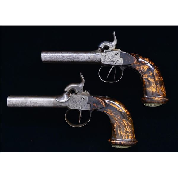 MATCHED PAIR OF BELGIAN SXS PERCUSSION PISTOLS.