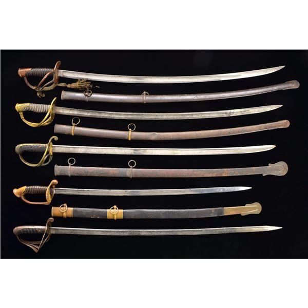 5 CIVIL WAR SWORDS.