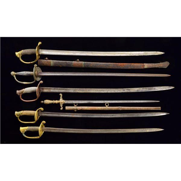 6 CIVIL WAR US SWORDS.