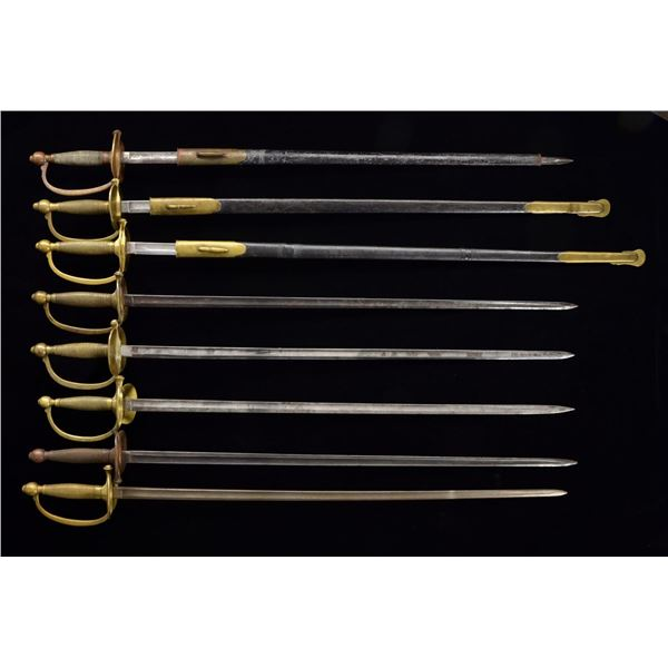 9 M1840 NCO SWORDS & 5 M1840 MUSICIANS SWORDS.