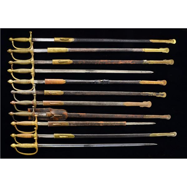 11 CIVIL WAR MODEL 1840 MUSCIAN'S SWORDS.