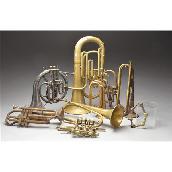 CIVIL WAR & LATER BRASS MUSICAL INSTRUMENTS,