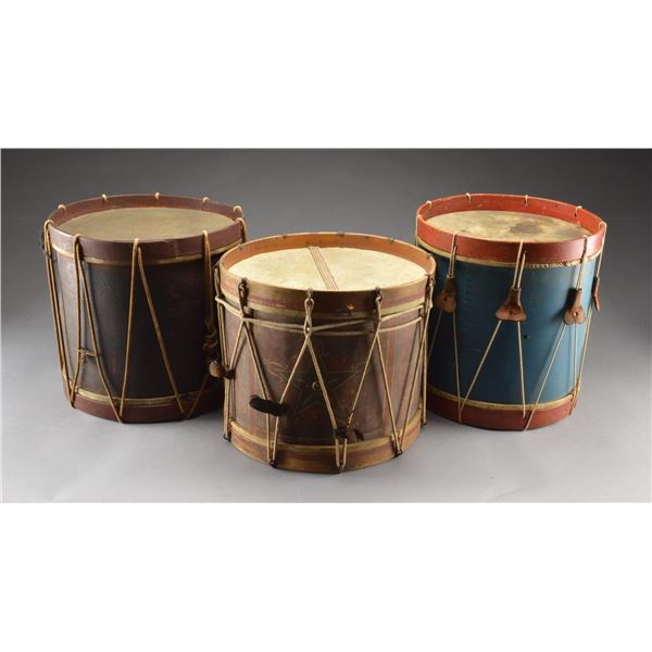 3 EARLY AMERICAN DRUMS.