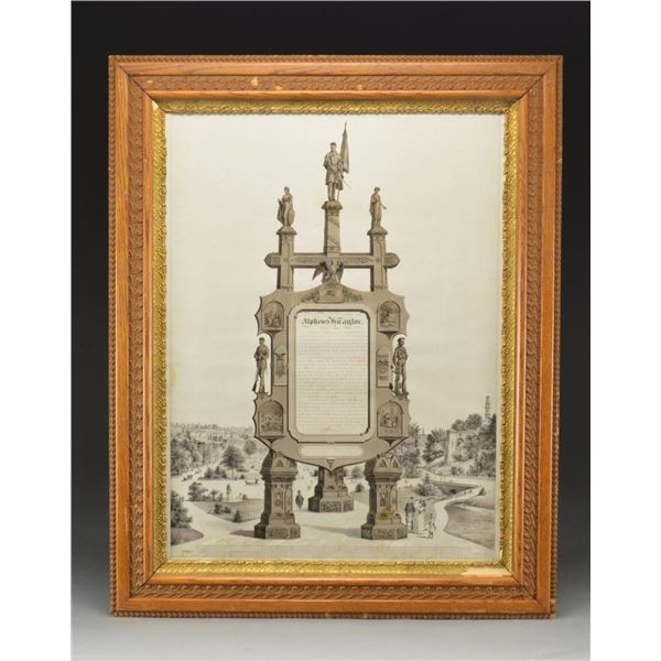 LARGE SOLDIERS MEMORIAL FRAME TO ALPHEUS H. TAYLOR