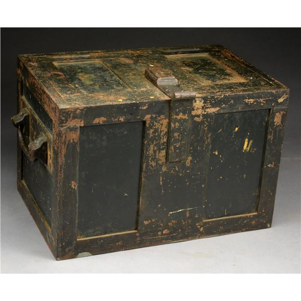 EARLY IRON STRONG BOX.