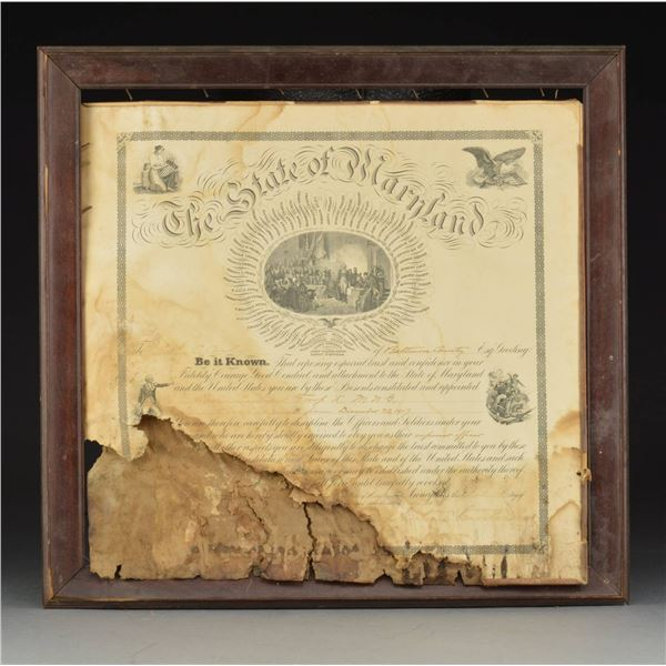 STATE OF MARYLAND CERTIFICATE IN FRAME & MILITARY
