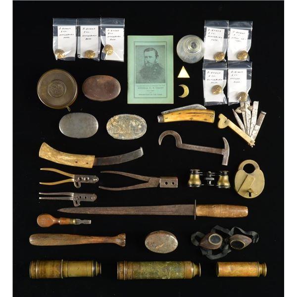 BOX OF CIVIL WAR & OTHER MILITARIA.