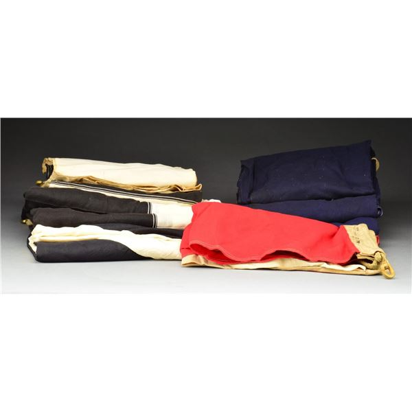 9 LARGE NAVAL SIGNAL FLAGS.