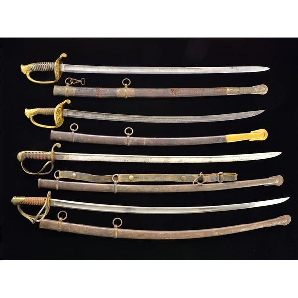 LARGE GROUP OF 19TH CENTURY SWORDS AND SCABBARDS.