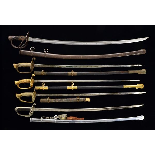 18 SWORDS, SABERS, FOILS & SCABBARDS FROM