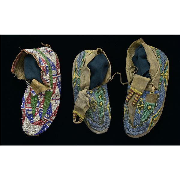 THREE 19TH CENTURY SIOUX BEADED MOCCASINS.