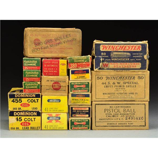 50+ BOXES VINTAGE & ANTIQUE HANDGUN AMMUNITION.