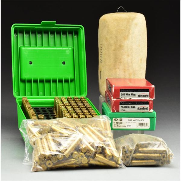 GROUP OF 264 WINCHESTER MAGNUM BRASS CASES &