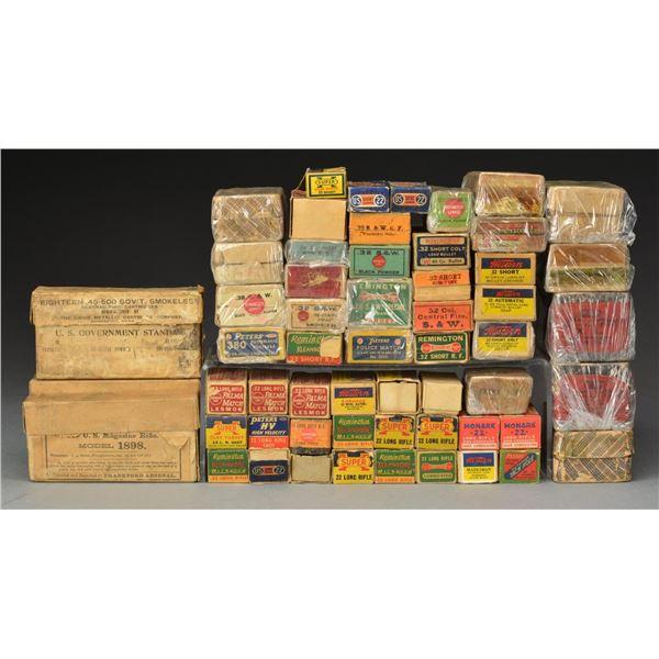 50+ BOXES OF ANTIQUE & VINTAGE METALLIC AMMO.