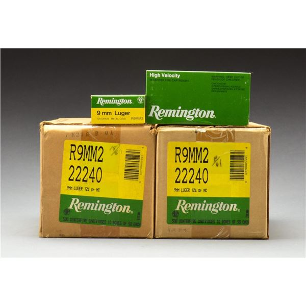 1,000 ROUNDS OF REMINGTON 9MM LUGER.
