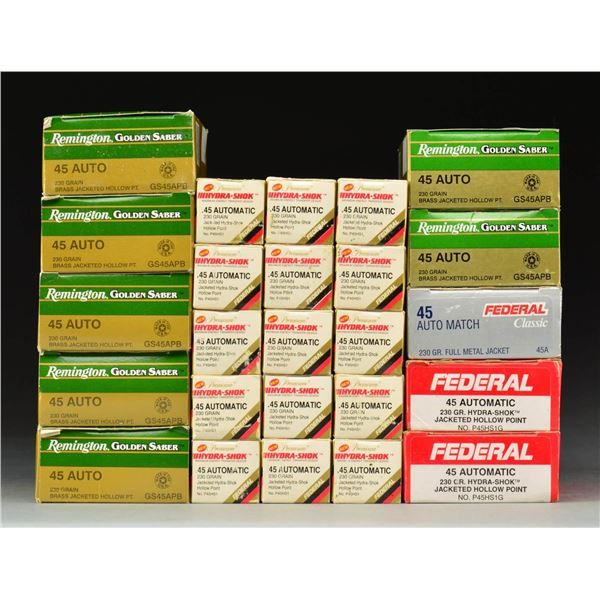 GROUP OF HGH PERFORMANCE 45 ACP PISTOL AMMO.