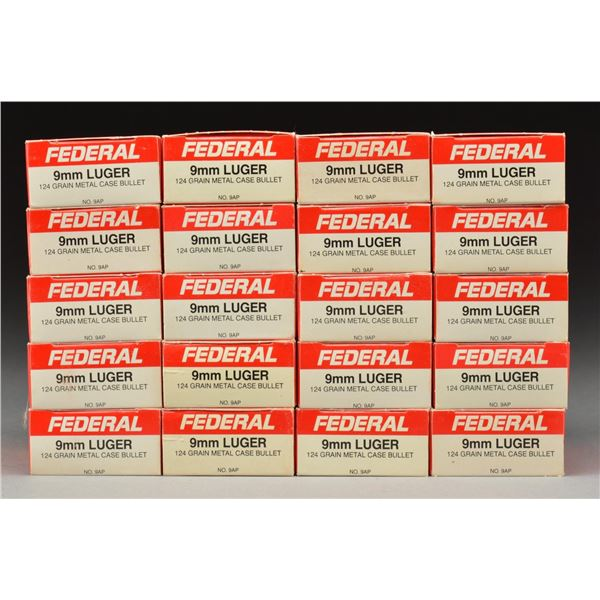 1,000 ROUNDS OF FEDERAL 9MM LUGER.