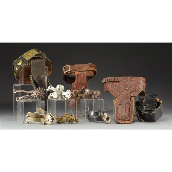 COWBOY/WESTERN HAT, SPURS & BELTS WITH HOLSTERS.