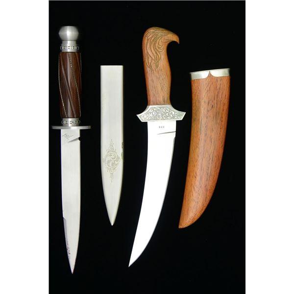 CUSTOM WORTHEN & TRAV FIXED BLADE KNIVES.