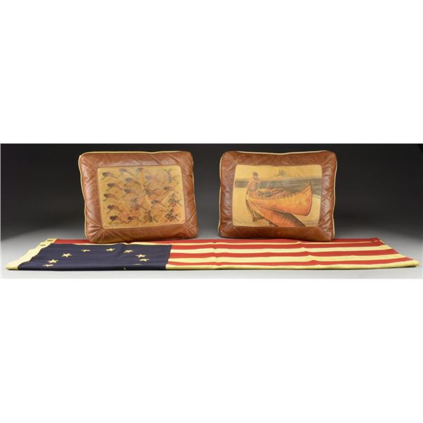 BICENTENNIAL 13 STAR US FLAG & 2 LEATHER PILLOWS.