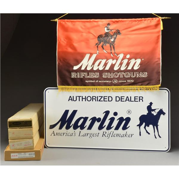 MARLIN BANNER, DEALER SIGNS & RIFLE BOXES.