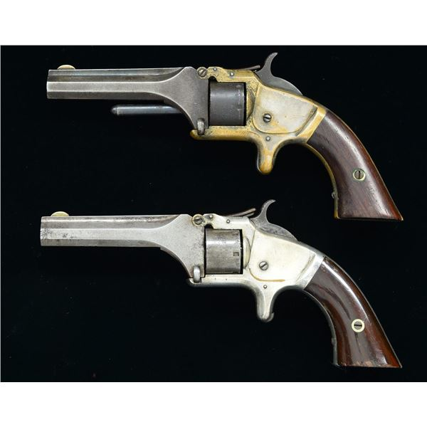 2 SMITH & WESSON NO 1 SECOND ISSUE SA REVOLVERS.