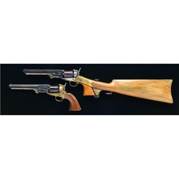 2 NAVY ARMS REVOLVERS & SHOULDER STOCK.