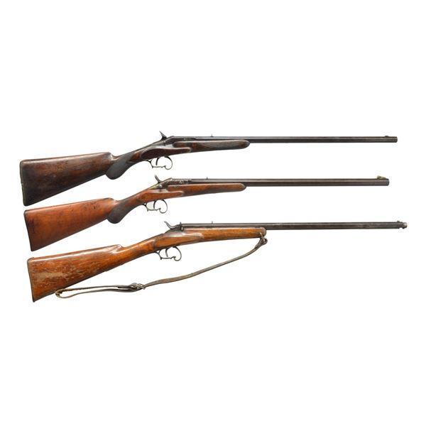 3 BELGIAN SINGLE SHOT FLOBERT PARLOR RIFLES.