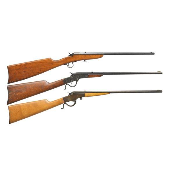 3 STEVENS SINGLE SHOT RIFLES.